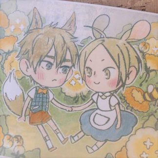 19 days postcard with Jian Yi and Zhan Zheng Xi, as a fox and a bunnyholding hands with surrounded with flowers