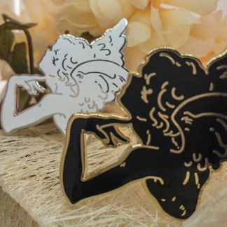 black and gold angel enamel pin