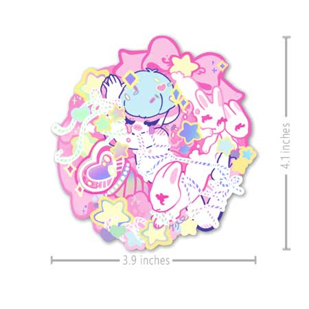 holographic sticker of a anime boy tied up in rope with bunnies around
