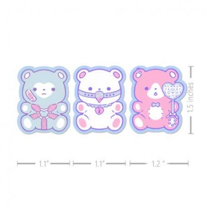 stickers of 3 pastel bears with bdsm gear
