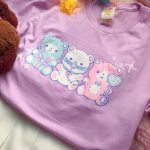 lavander tshirt with 3 pastel teddy bears in bdsm gear