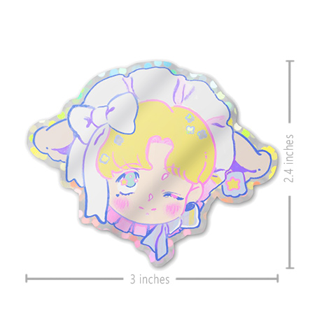 pastel glitter sticker of a cute anime boy with lamb ears and ribbons.