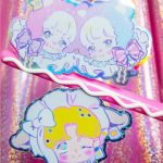 holographic sticker by pumpkinknives featuring pastel twin bears and lamb anime