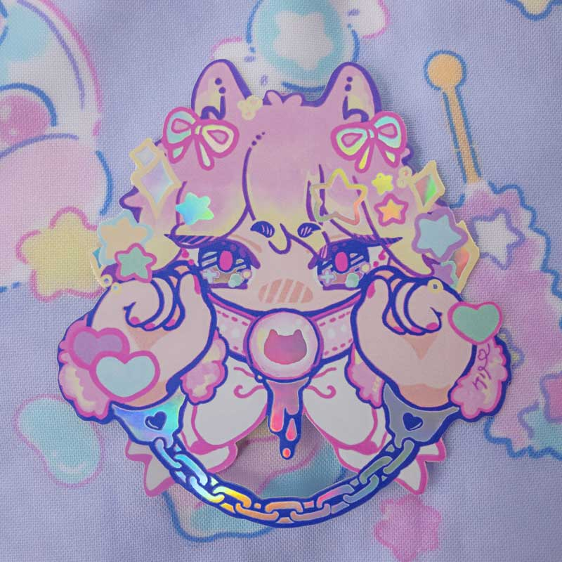 holographic sticker of neko with a gag and handcuff