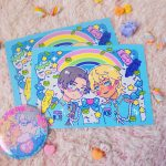 a colorful and cute illustration of reo and mabu from the anime sarazanmai surrounded with stars, sprinkles, rainbows and Kappas