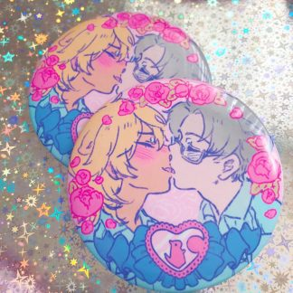 sarazanmai reo and mabu kissing surrounded with flowers