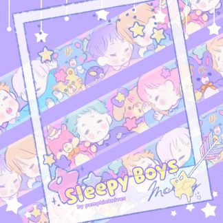washi tape with pastel color with sleeping boys with their soft plushies