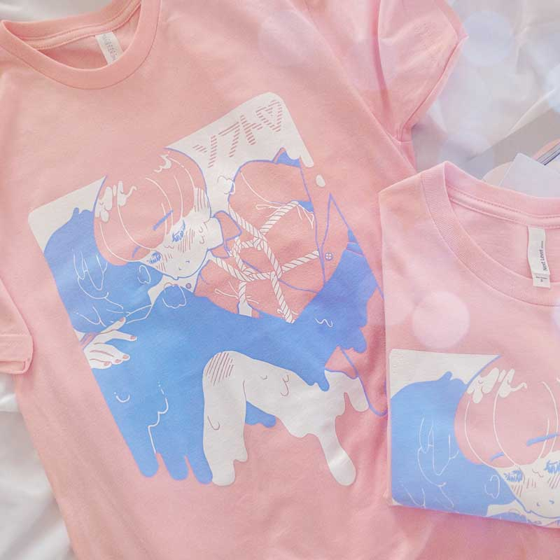 pastel soft tshirt with a theme of boy's love tee
