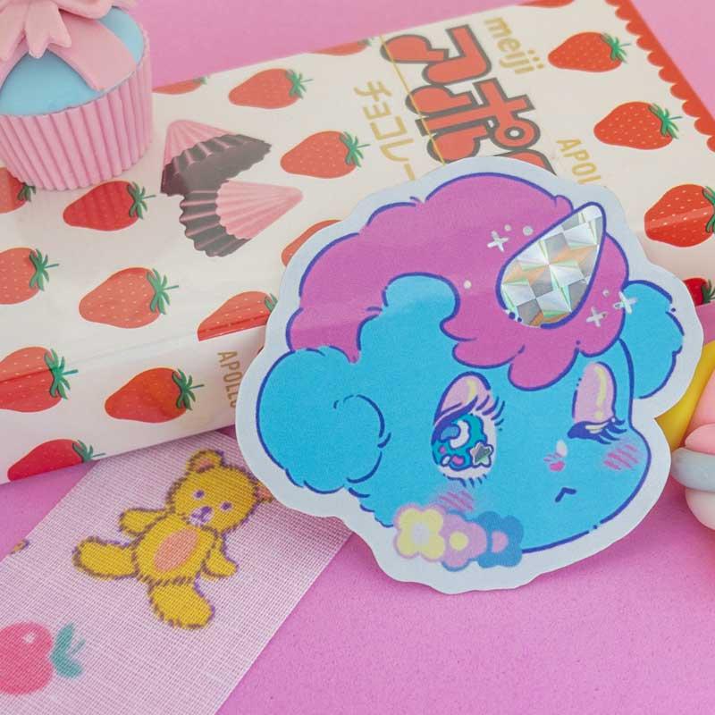 unico anime fanart sticker with prismatic detail
